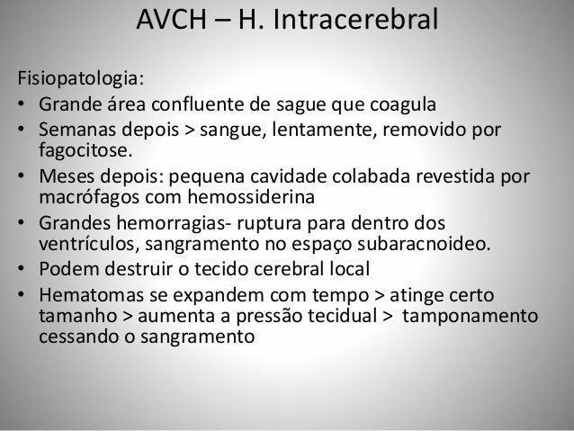 AVCH – H. Intracerebral Fisiopatologia: • Grande área confluente de sague que coagula • Semanas depois > sangue, lentament...