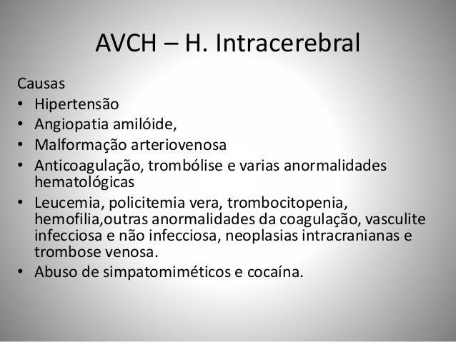 AVCH – H. Intracerebral Causas • Hipertensão • Angiopatia amilóide, • Malformação arteriovenosa • Anticoagulação, trombóli...