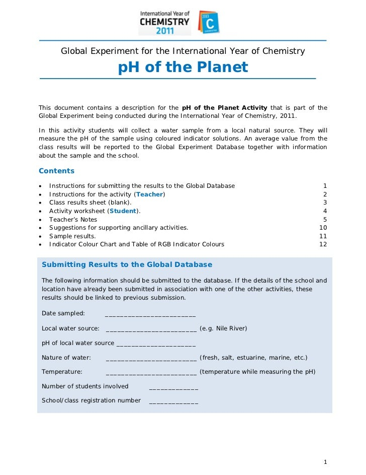 Global Experiment for the International Year of Chemistry                             pH of the PlanetThis do...