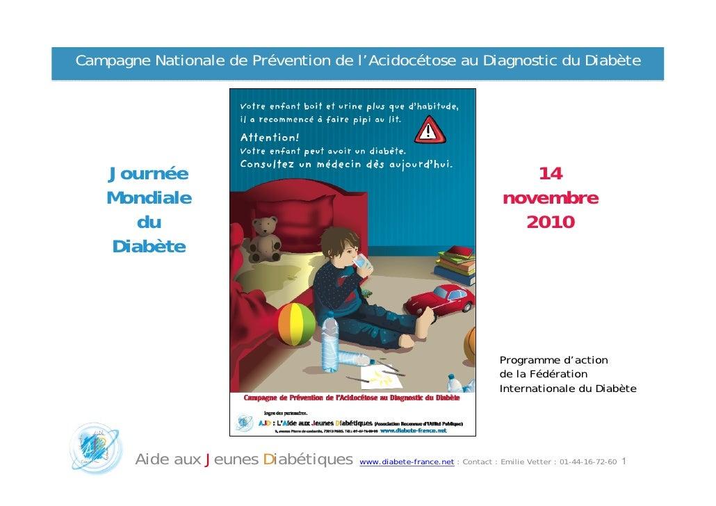 Campagne Nationale de Prévention de l'Acidocétose au Diagnostic du Diabète        Journée                                 ...