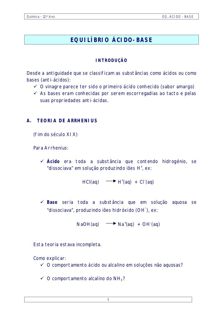Química – 12º Ano                                                EQ. ÁCIDO - BASE                       EQUILÍBRIO ÁCIDO-B...
