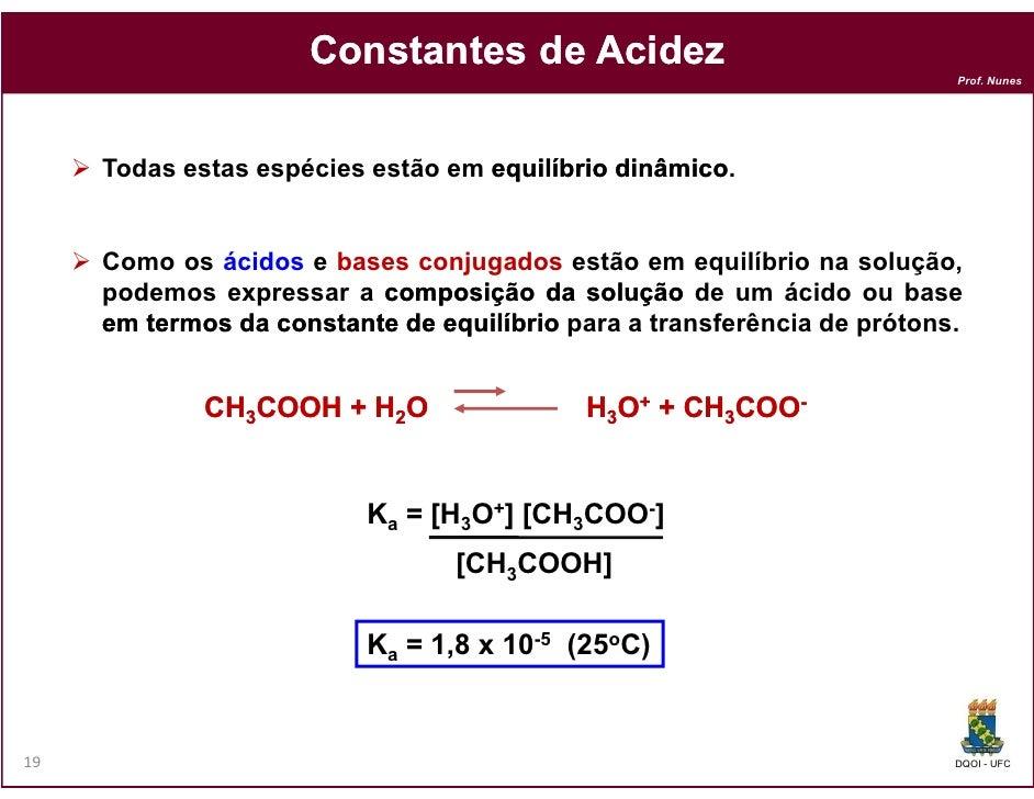 Constantes de Acidez                                                                         Prof. Nunes     Todas estas e...