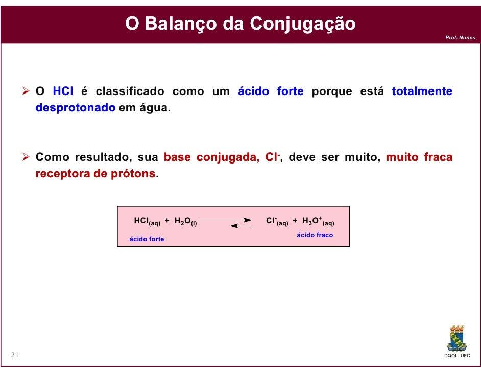 O Balanço da Conjugação                                                                       Prof. Nunes     O HCl é clas...