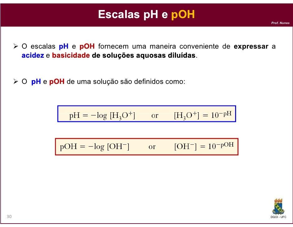 Escalas pH e pOH                                                                     Prof. Nunes     O escalas pH e pOH fo...