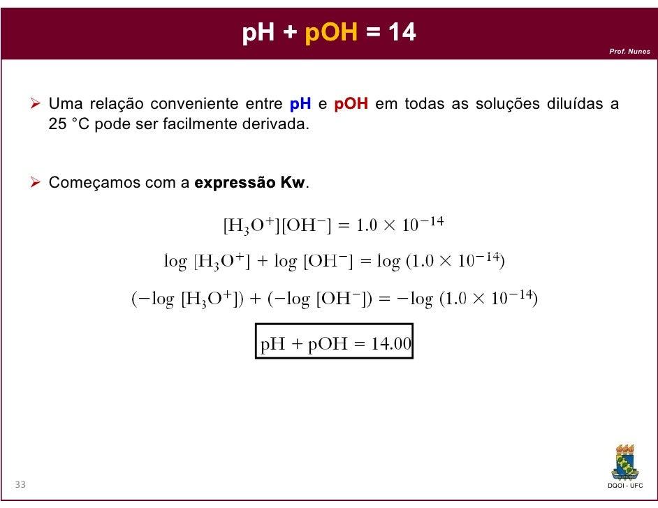 pH + pOH = 14                                                                          Prof. Nunes     Uma relação conveni...