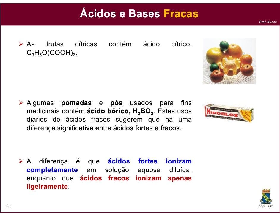 Ácidos e Bases Fracas                                                              Prof. Nunes     As   frutas cítricas   ...