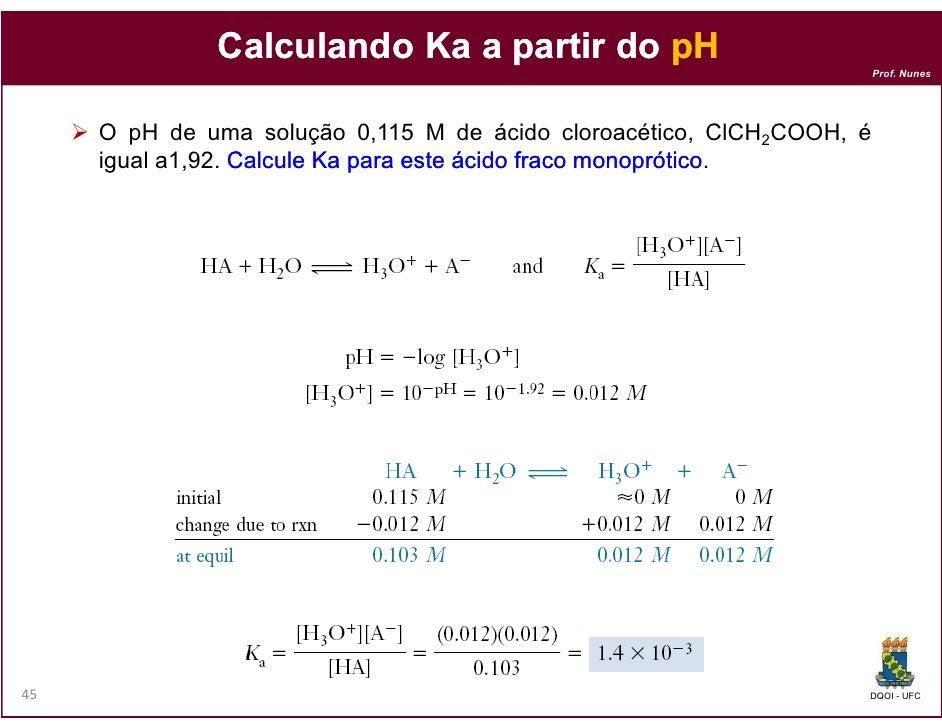 Calculando Ka a partir do pH                                                                       Prof. Nunes     O pH de...