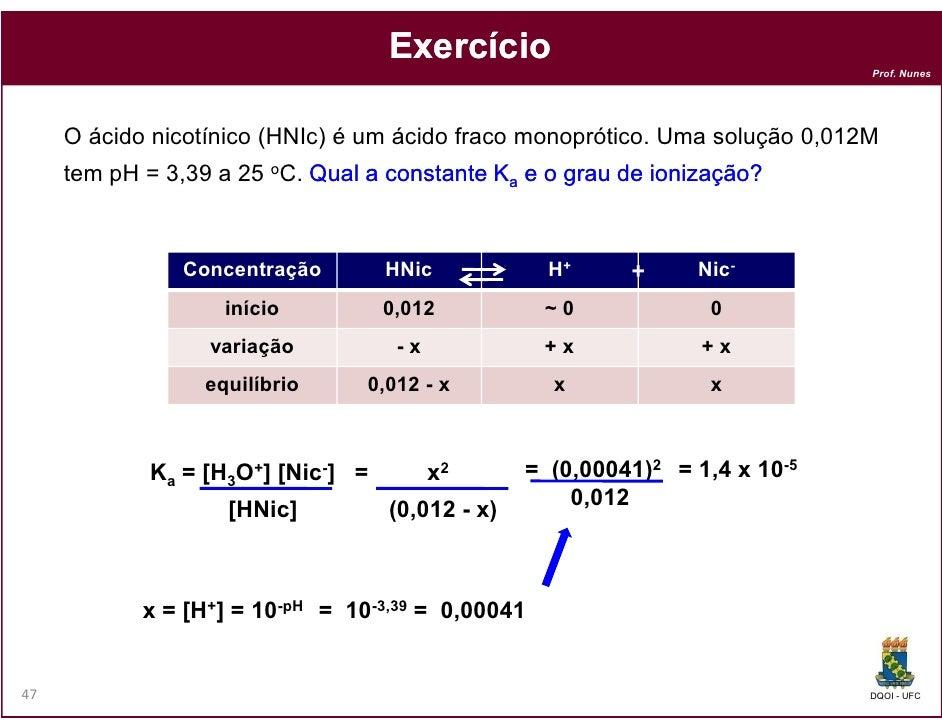 Exercício                                                                              Prof. Nunes     O ácido nicotínico ...