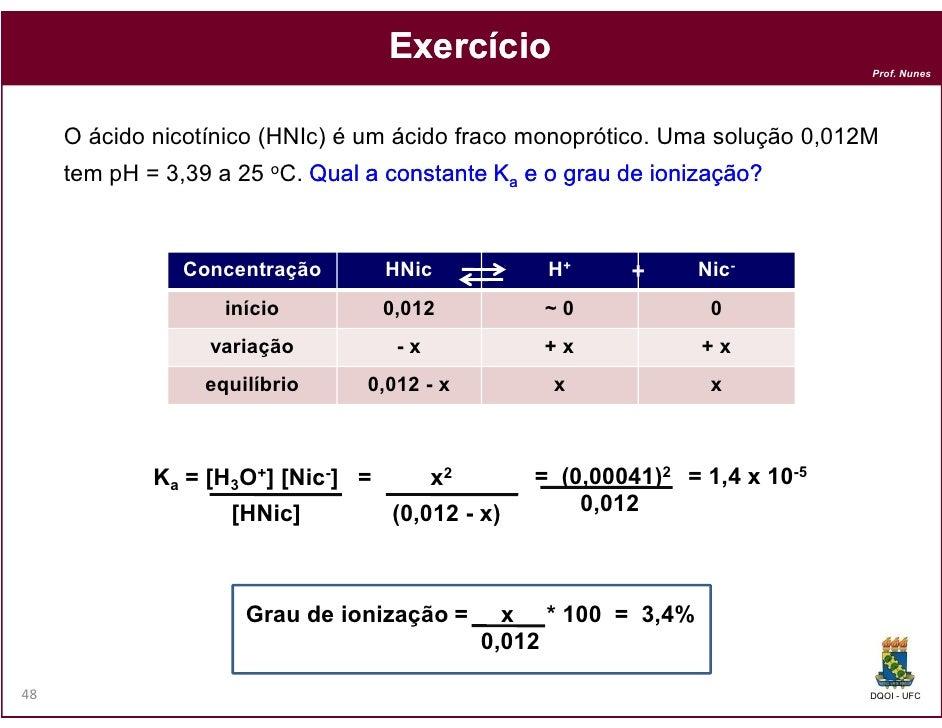 Exercício                                                                               Prof. Nunes     O ácido nicotínico...