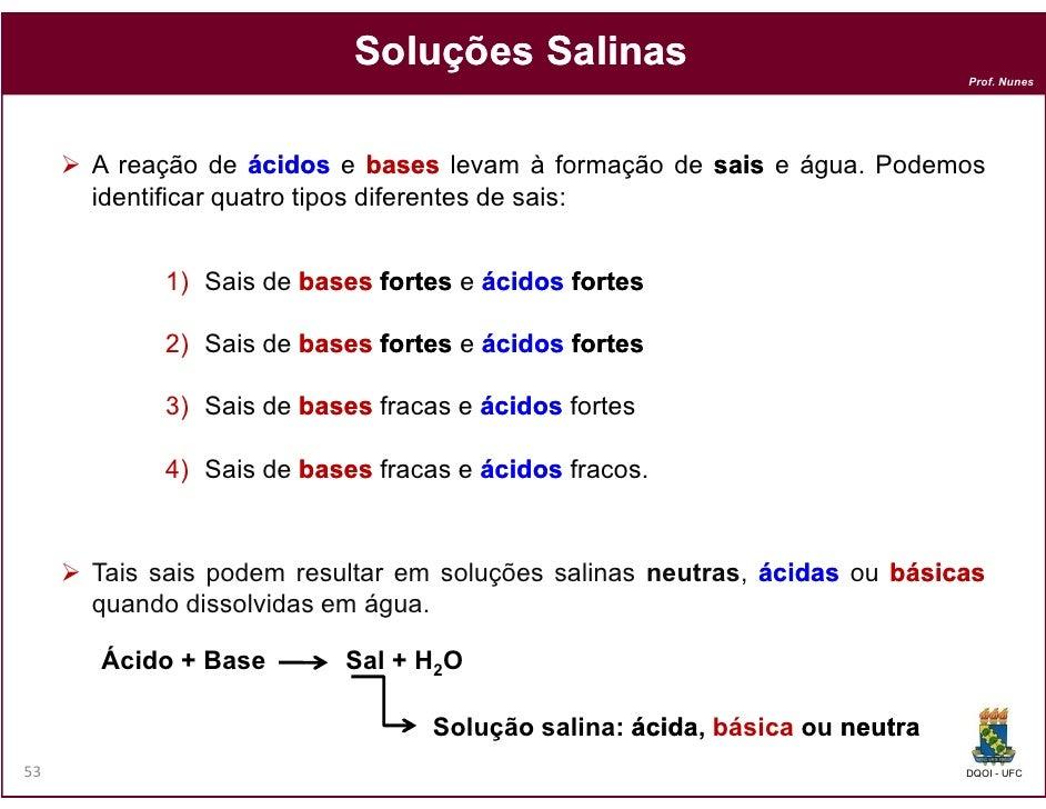 Soluções Salinas                                                                          Prof. Nunes     A reação de ácid...