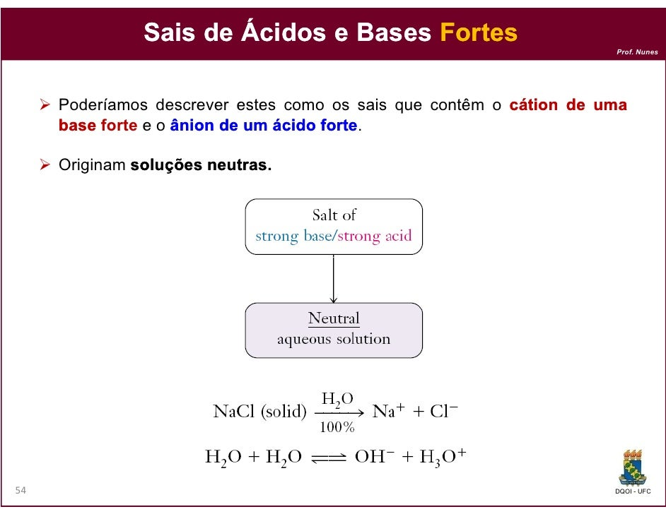 Sais de Ácidos e Bases Fortes                                                                     Prof. Nunes     Poderíam...