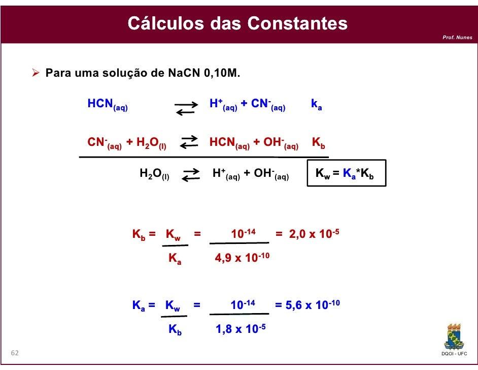 Cálculos das Constantes                                                                           Prof. Nunes     Para uma...