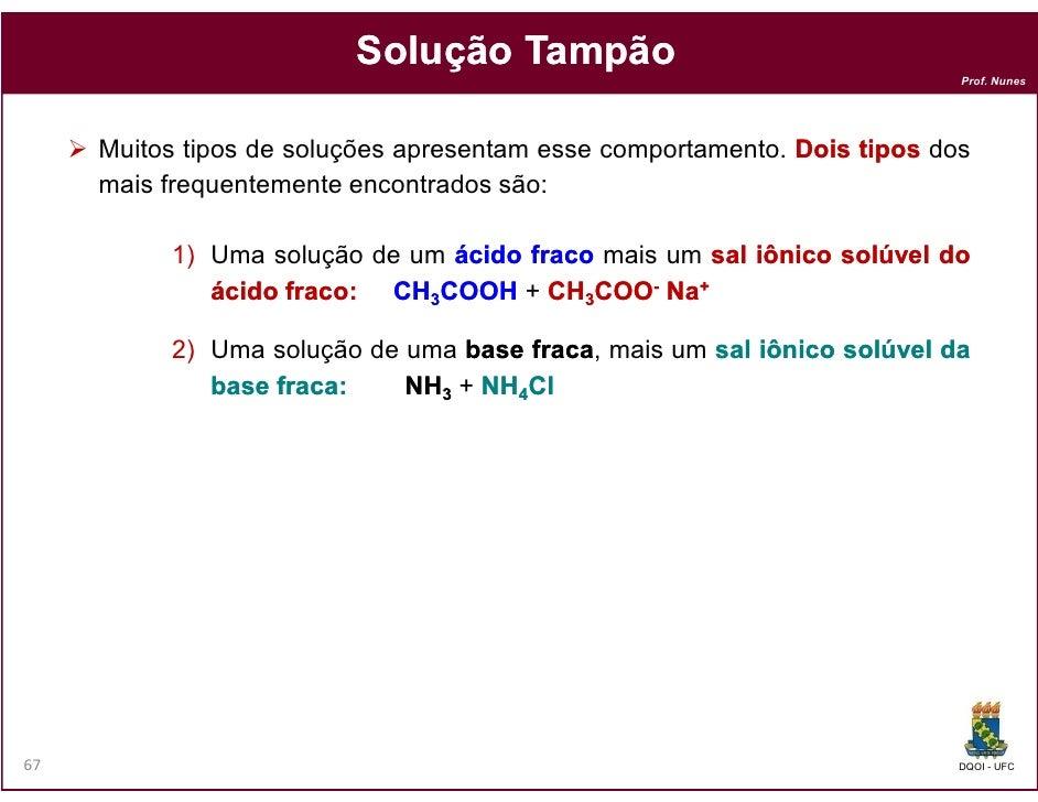 Solução Tampão                                                                          Prof. Nunes     Muitos tipos de so...
