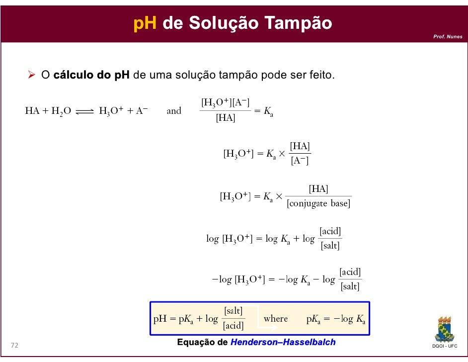pH de Solução Tampão                                                                Prof. Nunes     O cálculo do pH de uma...
