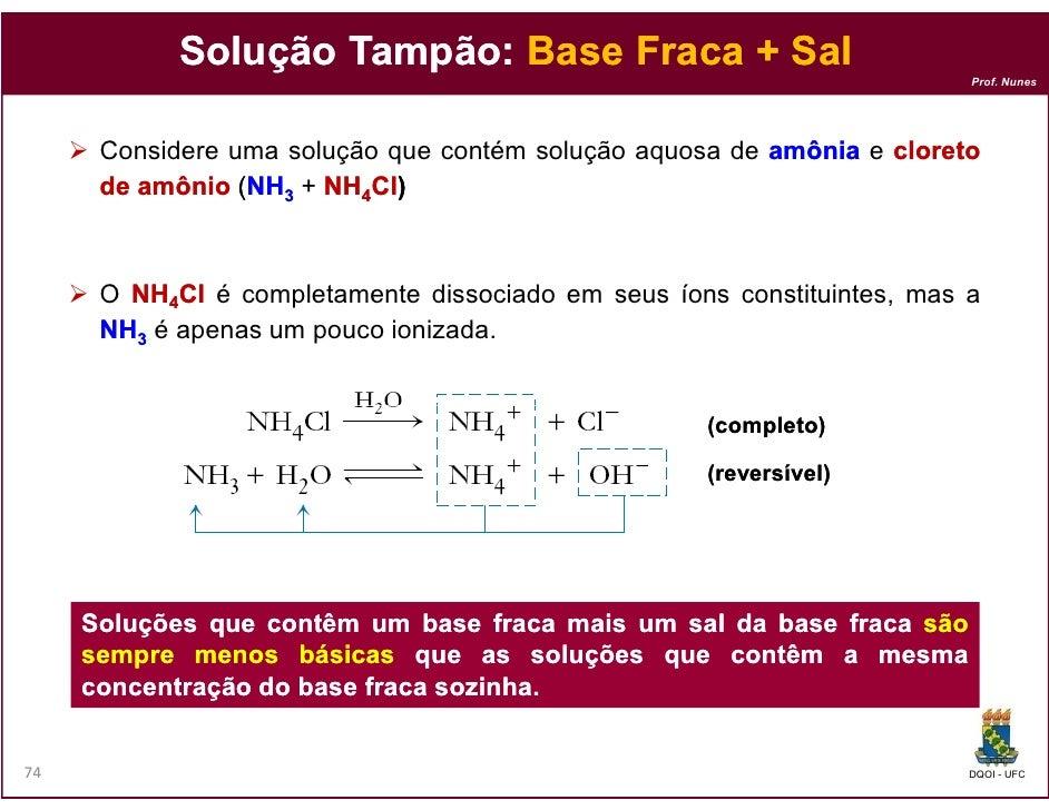 Solução Tampão: Base Fraca + Sal                    Tampão:                                                               ...