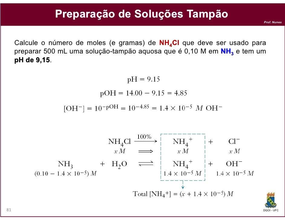 Preparação de Soluções Tampão                                                                          Prof. Nunes     Cal...