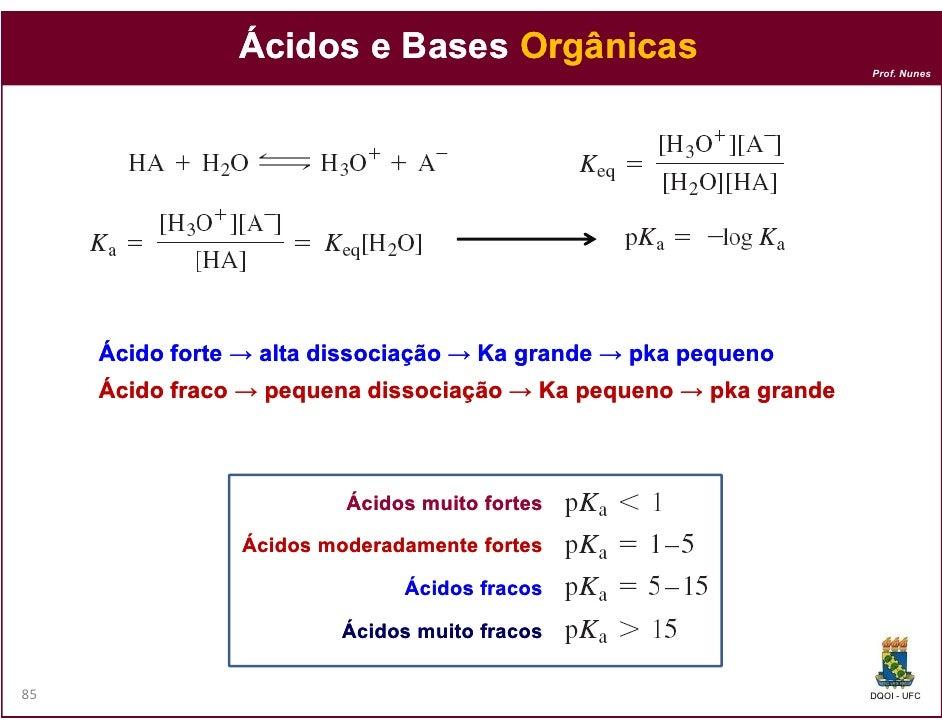 Ácidos e Bases Orgânicas                                                                   Prof. Nunes     Ácido forte → a...