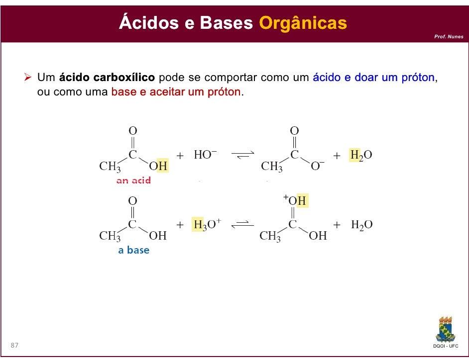 Ácidos e Bases Orgânicas                                                                          Prof. Nunes     Um ácido...