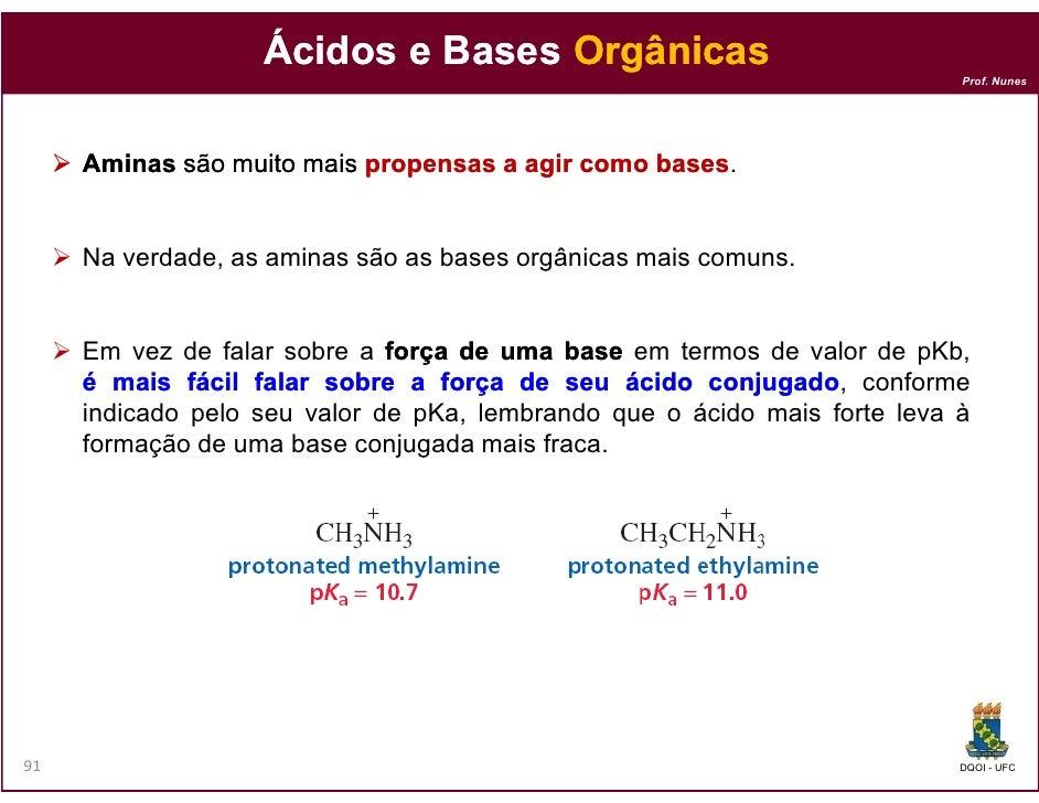 Ácidos e Bases Orgânicas                                                                           Prof. Nunes     Aminas ...