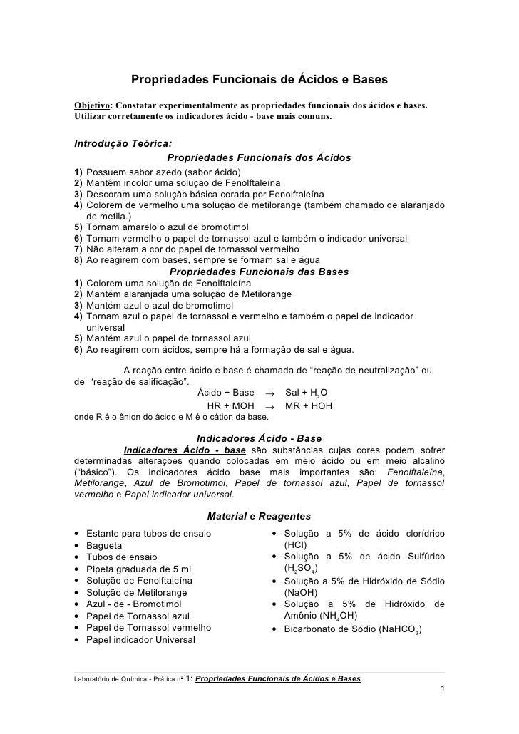Propriedades Funcionais de Ácidos e BasesObjetivo: Constatar experimentalmente as propriedades funcionais dos ácidos e bas...