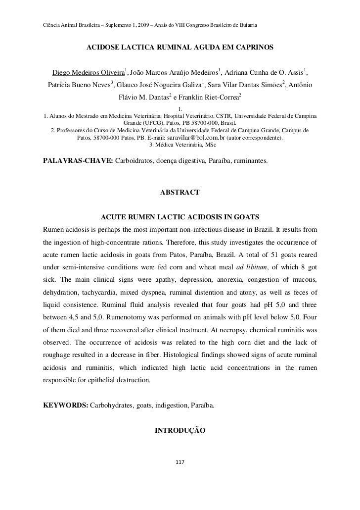 Ciência Animal Brasileira – Suplemento 1, 2009 – Anais do VIII Congresso Brasileiro de Buiatria                   ACIDOSE ...