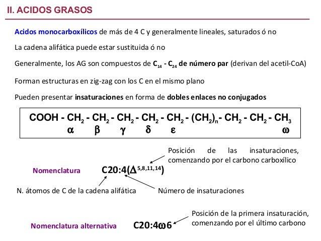 II. ACIDOS GRASOS Acidos monocarboxílicos de más de 4 C y generalmente lineales, saturados ó no La cadena alifática puede ...