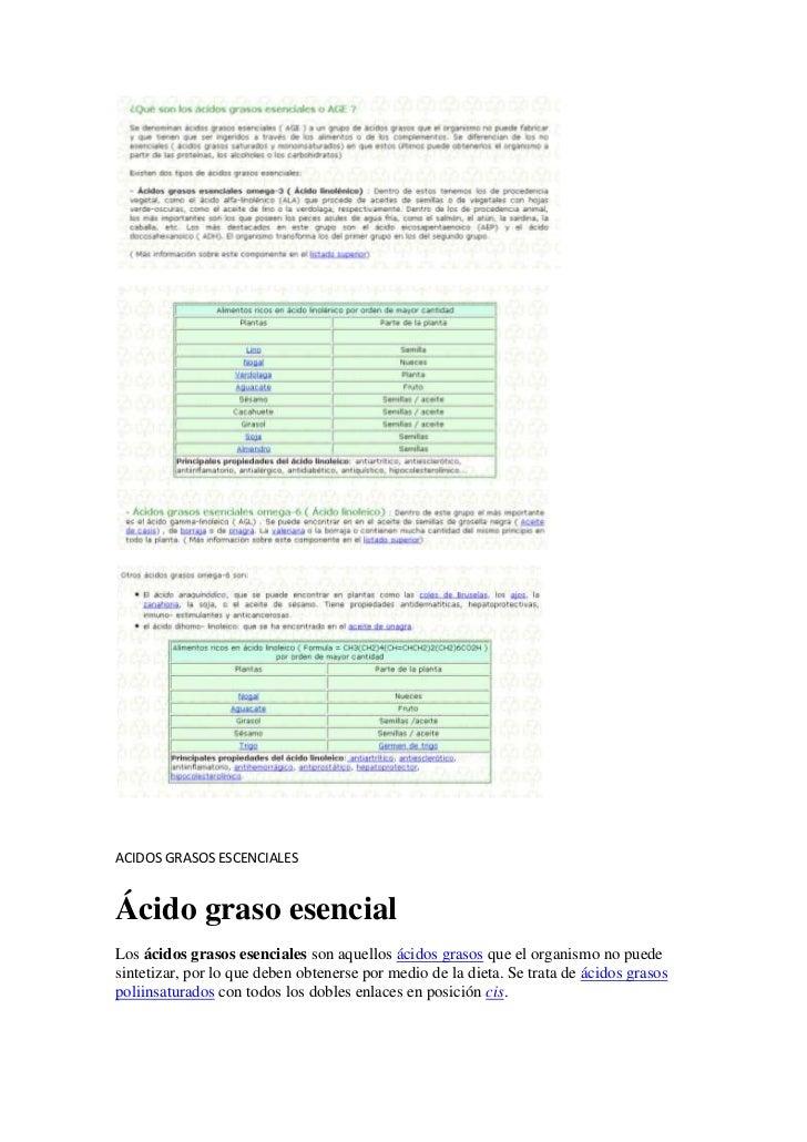 ACIDOS GRASOS ESCENCIALES<br />Ácido graso esencial<br />Los ácidos grasos esenciales son aquellos ácidos grasos que el or...