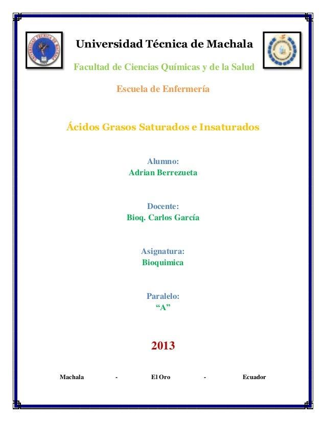 Universidad Técnica de Machala Facultad de Ciencias Químicas y de la Salud Escuela de Enfermería  Ácidos Grasos Saturados ...