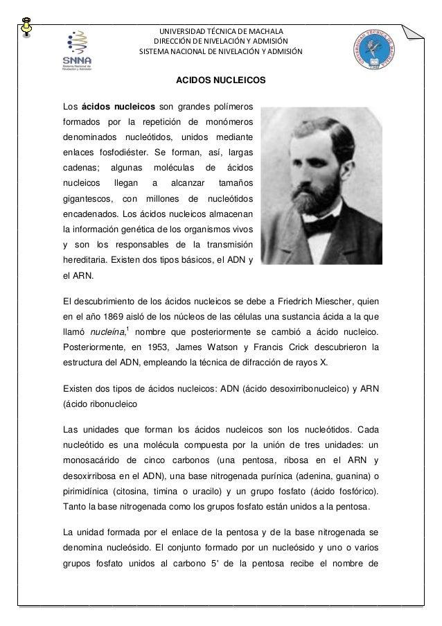 UNIVERSIDAD TÉCNICA DE MACHALA DIRECCIÓN DE NIVELACIÓN Y ADMISIÓN SISTEMA NACIONAL DE NIVELACIÓN Y ADMISIÓN ACIDOS NUCLEIC...