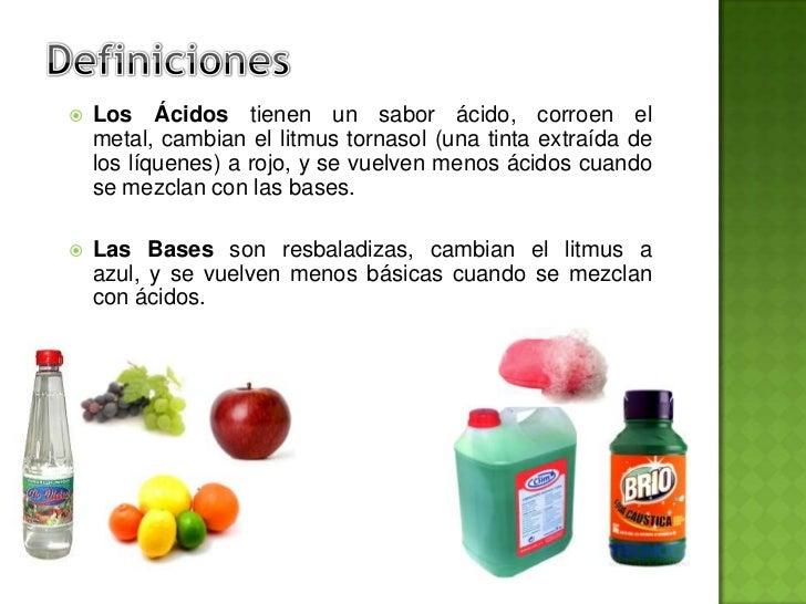 Acidos y bases for La quimica en la gastronomia