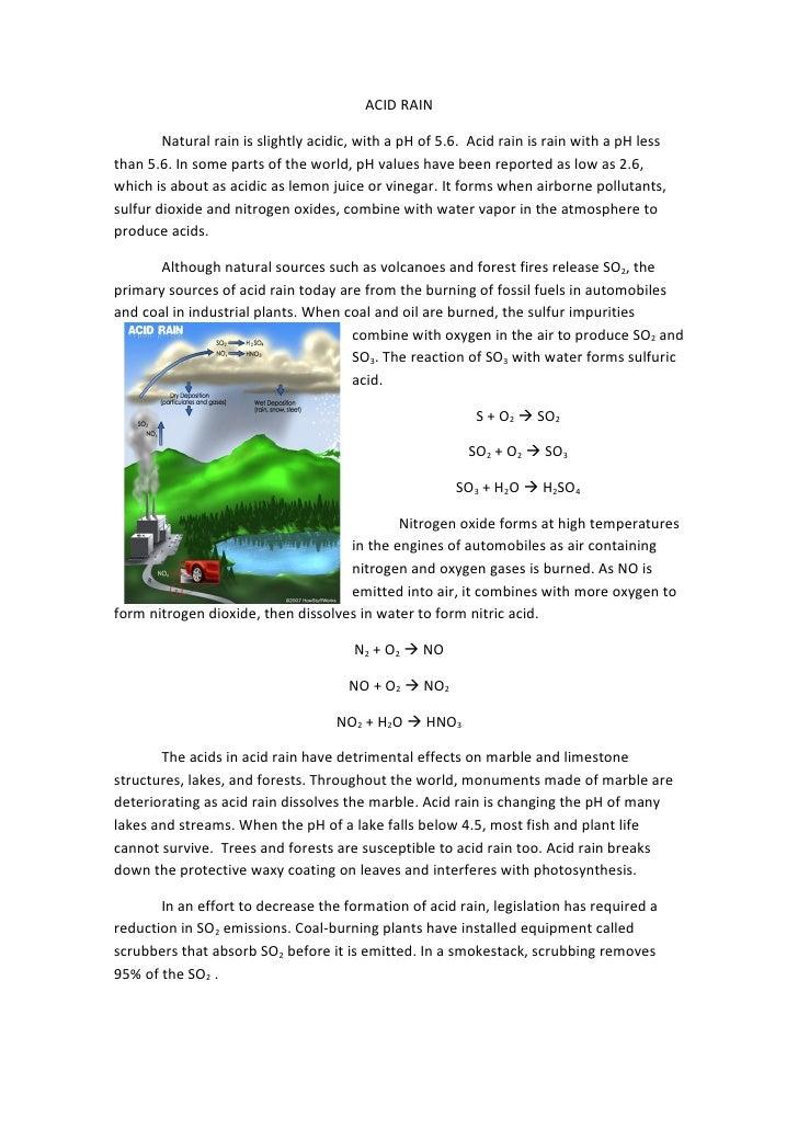ACID RAIN        Natural rain is slightly acidic, with a pH of 5.6. Acid rain is rain with a pH lessthan 5.6. In some part...