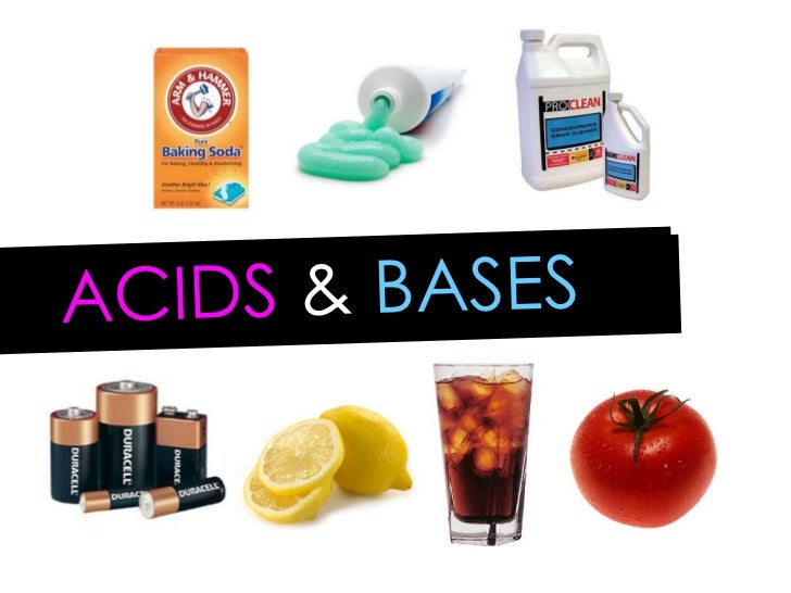 acid and bases Manufacturers use acids and bases, which have distinctive properties, in products including medicines, construction materials and other goods acids and bases also occur naturally in most common food and animal products.