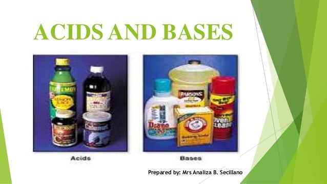 ACIDS AND BASES Prepared by: Mrs Analiza B. Secillano