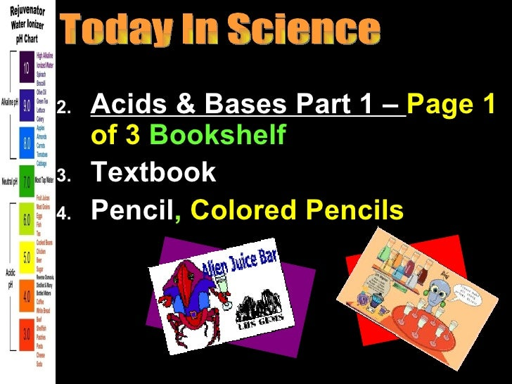 You will Need:2.   Acids & Bases Part 1 – Page 1     of 3 Bookshelf3.   Textbook4.   Pencil, Colored Pencils