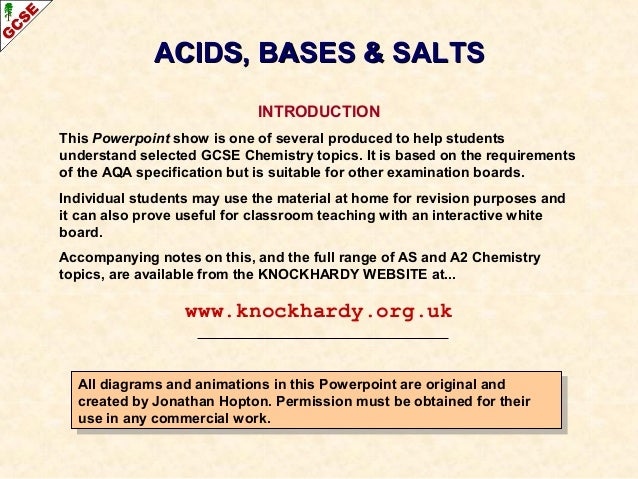 Acids, bases and salts IGCSE Chemistry