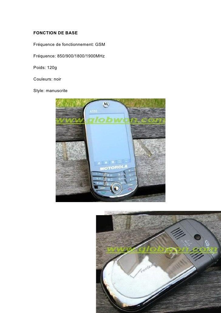 FONCTION DE BASE  Fréquence de fonctionnement: GSM  Fréquence: 850/900/1800/1900MHz  Poids: 120g  Couleurs: noir  Style: m...