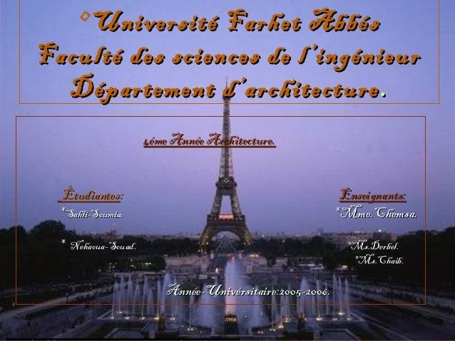 •Université Farhet AbbésUniversité Farhet AbbésFaculté des sciences de l'ingénieurFaculté des sciences de l'ingénieurDépar...