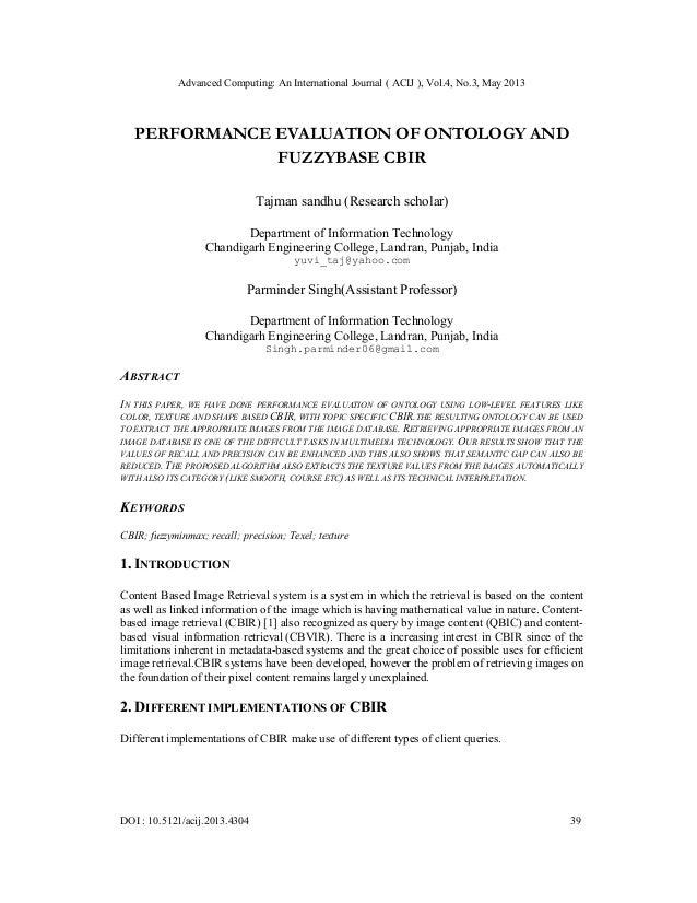 Advanced Computing: An International Journal ( ACIJ ), Vol.4, No.3, May 2013DOI : 10.5121/acij.2013.4304 39PERFORMANCE EVA...