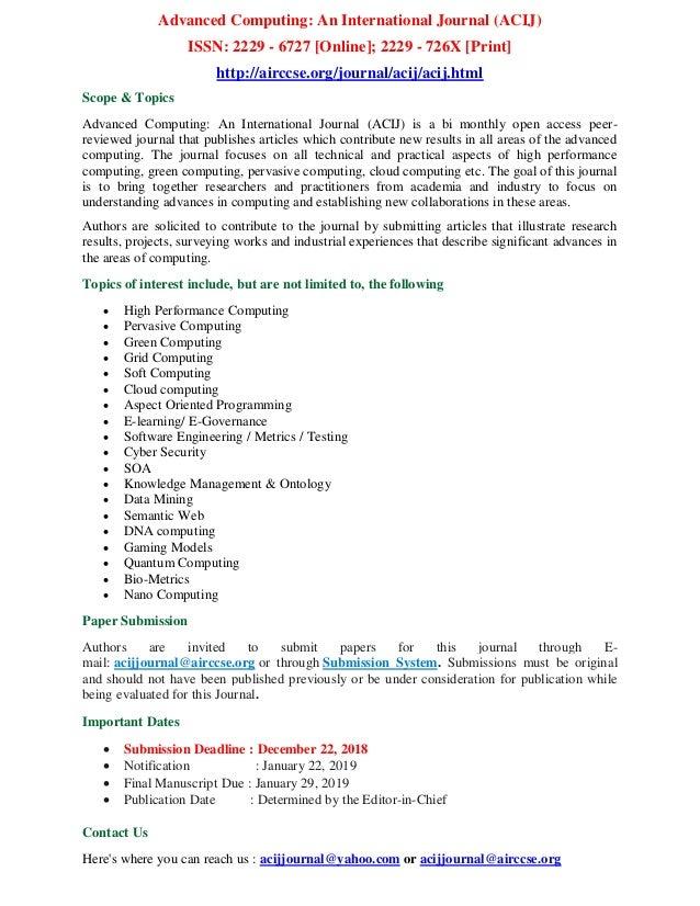 Advanced Computing: An International Journal (ACIJ)