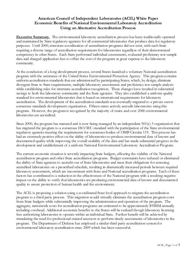 American Council of Independent Laboratories (ACIL) White Paper            Economic Benefits of National Environmental Lab...