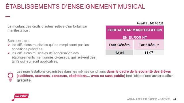ÉTABLISSEMENTS D'ENSEIGNEMENT MUSICAL Les manifestations organisées dans les mêmes conditions dans le cadre de la scolarit...