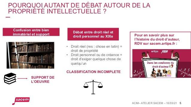 5 POURQUOI AUTANT DE DÉBAT AUTOUR DE LA PROPRIÉTÉ INTELLECTUELLE ? Confusion entre bien immatériel et support Débat entre ...
