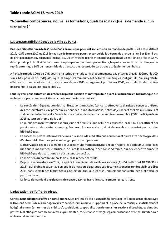 """Table ronde ACIM 18 mars 2019 """"Nouvelles compétences, nouvelles formations, quels besoins ? Quelle demande sur un territoi..."""
