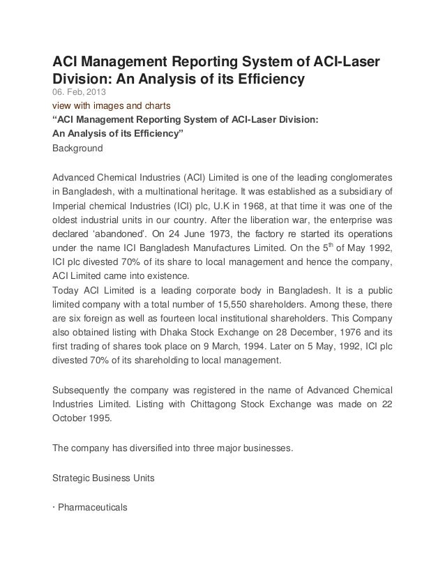ACI Management Reporting System of ACI-LaserDivision: An Analysis of its Efficiency06. Feb, 2013view with images and chart...
