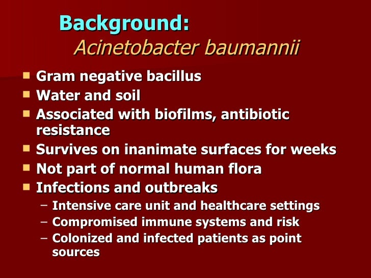 acinetobacter baumannii Multidrug resistant acinetobacter baumannii, (mrab) is an important cause of hospital acquired infection the purpose of this study is to determine the risk factors.