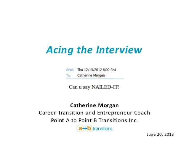 Acing the InterviewCatherine MorganCareer Transition and Entrepreneur CoachPoint A to Point B Transitions Inc.June 20, 2013