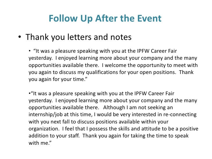 career fair follow up letter
