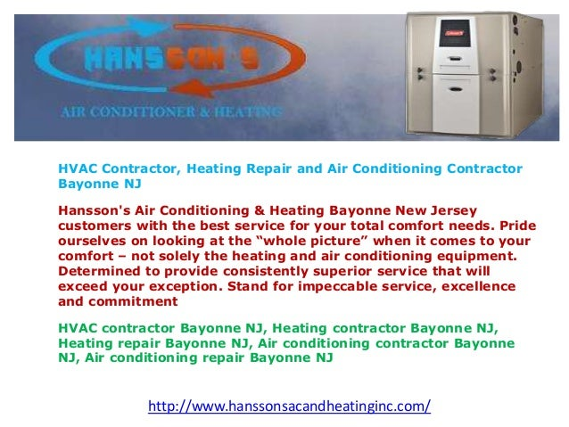 HVAC Contractor, Heating Repair and Air Conditioning Contractor Bayonne NJ Hansson's Air Conditioning & Heating Bayonne Ne...