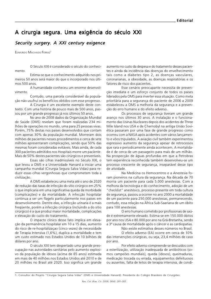 Ferraz A cirurgia segura: uma exigência do Século XXI                                                                     ...