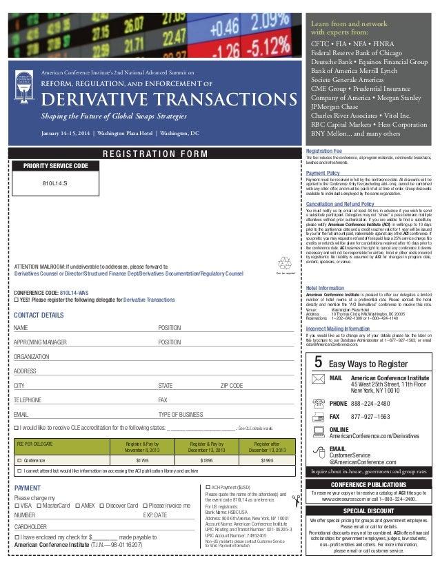 Aci S 2nd National Derivatives Summit
